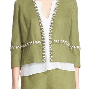 TORY BURCH Green Avery Embellished Jacket 12